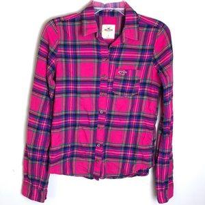 Hollister | Plaid Flannel Button Down Shirt Pink